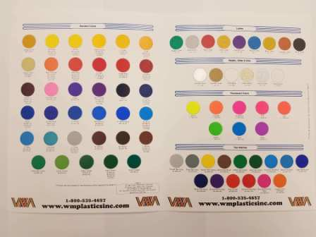 Color Card of standard colors stocked - CATCOLORCARD